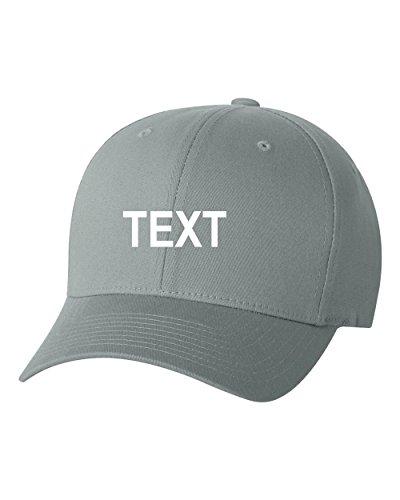 (Flexfit Custom Name Embroidered 5001 V-Flex Twill Fitted Baseball Cap (S/M, Gray))