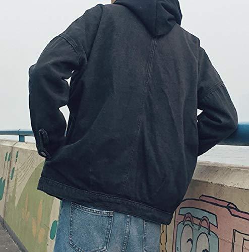 Gira Nero Mens Tasca fit Jeans Di Rilassato Lavaggio Angelspace Vintage Giù Giubbotto UUxI6