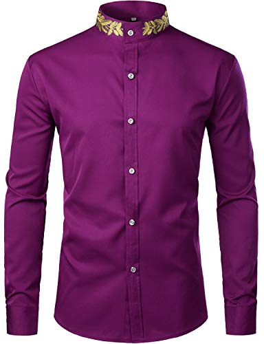 (ZEROYAA Mens Hipster Gold Embroidery Mandarin Collar Slim Fit Long Sleeve Casual Dress Shirts Z52 Purple)