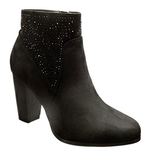 Angkorly - damen Schuhe Stiefeletten - Hohe - Strass Blockabsatz high heel 8.5 CM - Schwarz