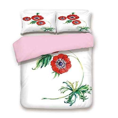 (Pink Duvet Cover Set,King Size, Three Red Flowers in Watercolor Painting Style Summer Bloom Botany,Decorative 3 Piece Bedding Set with 2 Pillow Sham,Best Gift for Girls Women,Red Purple Green)