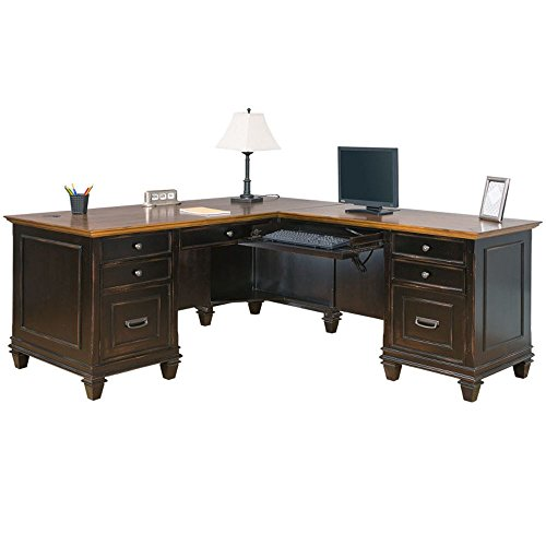 - Hartford Two-Tone Double Pedestal Right L-Desk - 69.5