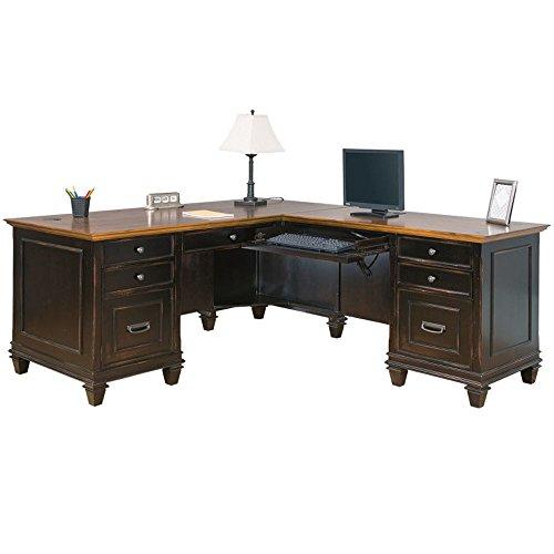 Hartford Two-Tone Double Pedestal Right L-Desk - 69.5