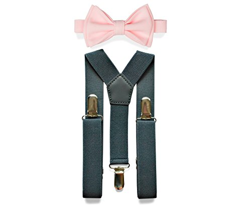Charcoal Grey Suspenders & Bow Tie Set for
