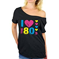 Awkward Styles Women's I Love The 80's Off The Shoulder Tops for Women T Shirts for 80's Fans