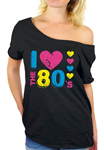 f2e90a03794407 ... Women s I Loveheart The 80 s Off The Shoulder Top - S to XXL
