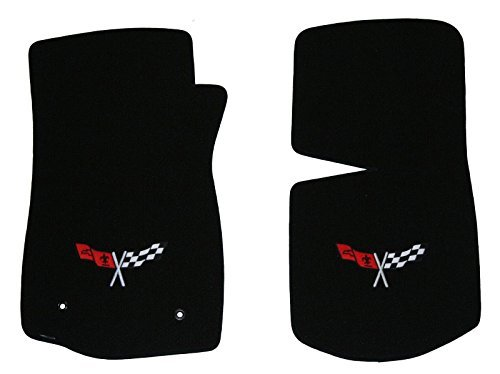 (1968-1982 C3 Corvette Classic Loop Black Front Floor Mats Set with Crossed Flags Logo in Silver & Red)