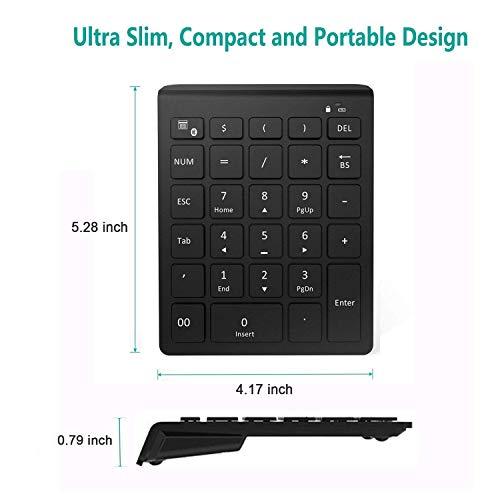 Bluetooth Number Pad, Lekvey Portable Wireless Bluetooth 28-Key Numeric Keypad Keyboard