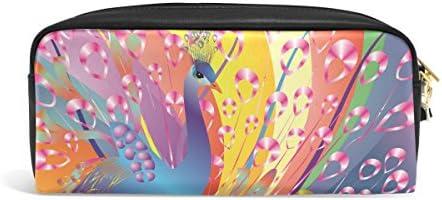 Ahomy - Estuche para lápices con plumas de colores de pavo real y gran capacidad para estudiantes, bolsa de maquillaje para mujer: Amazon.es: Oficina y papelería