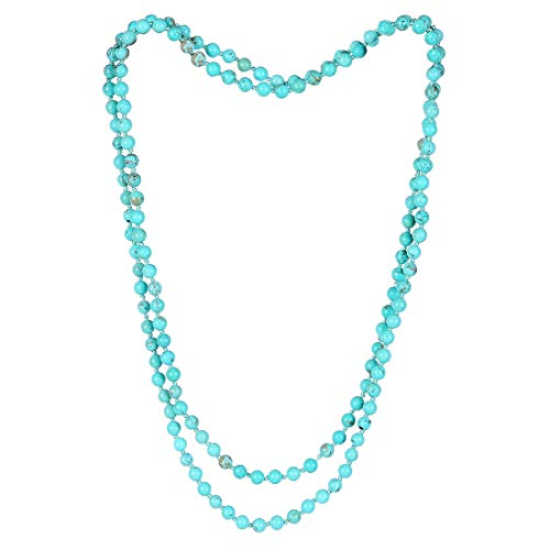 (CAT EYE JEWELS Endless Infinity Necklace 6MM 48 Inch Turquoise Semi-Precious Stone Beaded Long Strand Necklace T006)