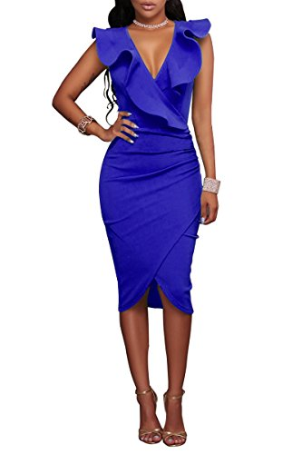 Increspano Delle Da Donne Il Yming Vestito Vestito Party Bodycon Collo Blu Eleganti Fronzoli Cocktail V nEqwXEB