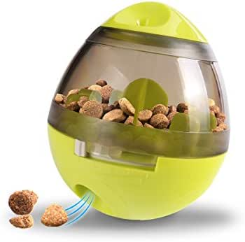 Caferria Pet IQ Treat Ball, Interactive Food Dispensing Ball for Dogs & Cats:Training/Playing/Chewing Ball Mint Flavor Pet Biting Dog Ball (Green)