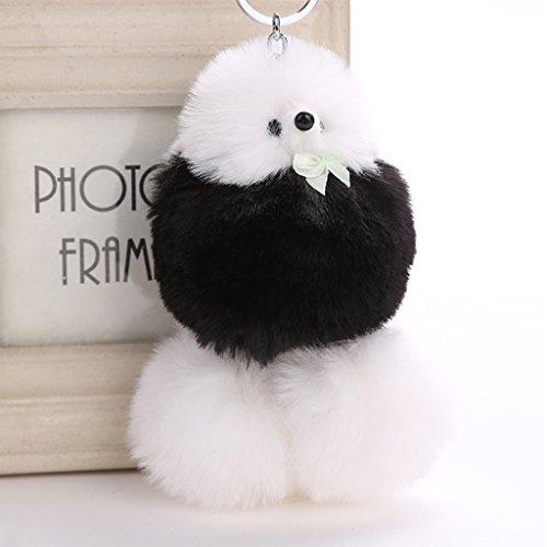 Price comparison product image AISme Key Ring Funny Cartoon Fur Plush Metal Dog Key Chain Bag Pendant Car Decoration (Black)