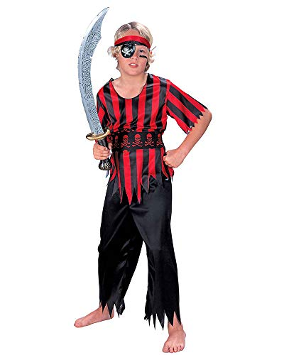 Seasons Direct Halloween Boys Pirate Costume (US 8-10) Red and Black]()