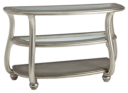 (Ashley Furniture Signature Design - Coralayne Traditional Glass Top Sofa Table - Silver Finish)