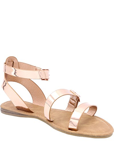 Bamboo Womens Buckles Gladiator Sandals (Available In 3 Colors) Rose Gold JMo1l7Xz