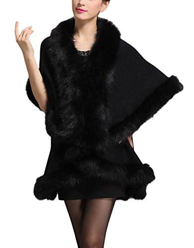 Sintetica Piel Outerwear Alta Grueso Negro Fiesta Sólido Más Termico Asimétrica Vintage Parka Color Cárdigans Invierno Elegantes Mujer Coctel Abrigos Moda De Pelo Calidad Ponchos Ropa Modernas RwOPT6