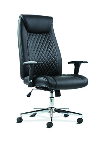 HON Sadie Executive Computer Chair- Height-Adjustable Arms for Office Desk, Black Leather with Chrome Accents (HVST330)