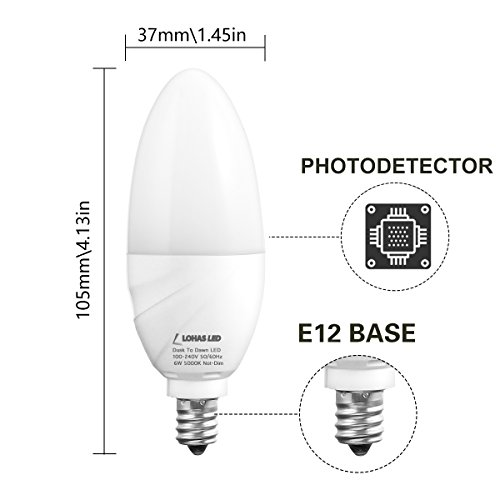 Lohas Candelabra Light Bulbs E12 Base Led 6w 60w Equivalent Light Sensor Dusk To Dawn Bulb Automatic On Off Daylight White 5000k Indoor Outdoor