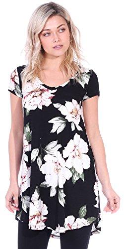 Popana Women's Tunic Tops for Leggings Short Sleeve Summer Shirt Made in USA Medium ST85