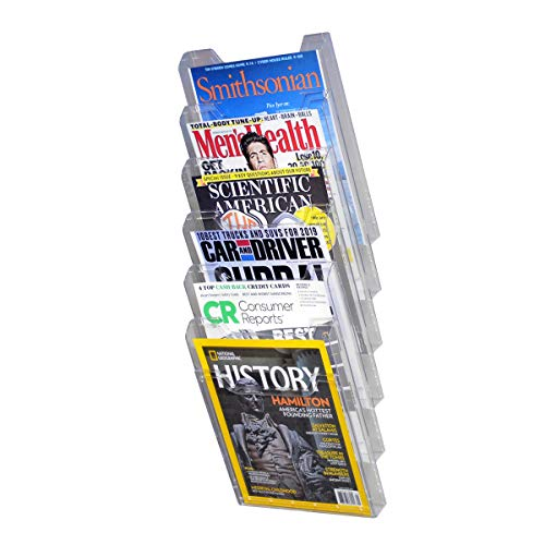 - Ultimate Office Literature Display, Magazine Rack 6 Pocket Crystal Clear Cascading Modular Design Takes Up Less Wall Space and Can Be Expanded Top to Bottom and Side by Side Any Time!