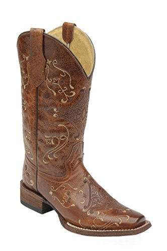 - Corral Circle G Women's Cognac/Brown Scroll Embroidery Designed Leather Cowgirl Boots