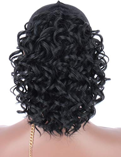 Kalyss Lightweight Black Synthetic Loose Curly Hair Extensions Loose Twist Drawstring Ponytail Hairpiece with Two Clips