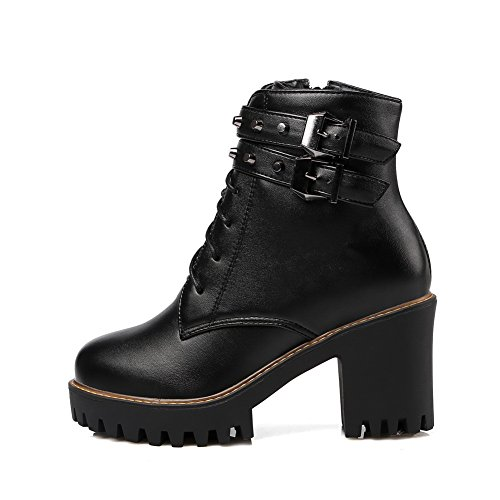 Top Allhqfashion Boots High Black Heels Zipper Pu Women's Solid Low w1wfqxH0