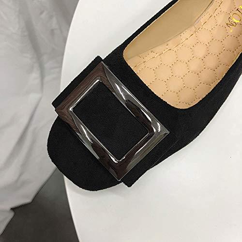 Peu Dcontractes Mode Simple Profonde Unie Holywin Bout Noir Mtallique Chaussures Flock Femmes Couleur Carr HWWXc
