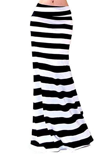 Vivicastle Women's Asymmetric Striped Fold Over Waist Long Maxi Skirt (Medium, G2, Multi)