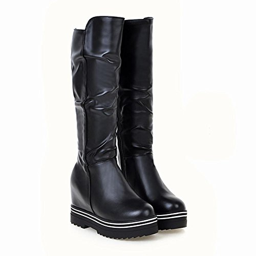 Carolbar Mujeres Sweet Cute Fashion Cremallera Plataforma Hidden Heel Tall Botas Negro