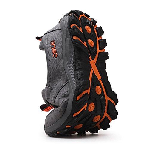 Montagna Gracosy Uomo Slip Loafers Sportive In Scarpe Casual Pelle Ginnastica Da Grigio All'aperto Escursionismo Trekking Basse On 0F0Twx