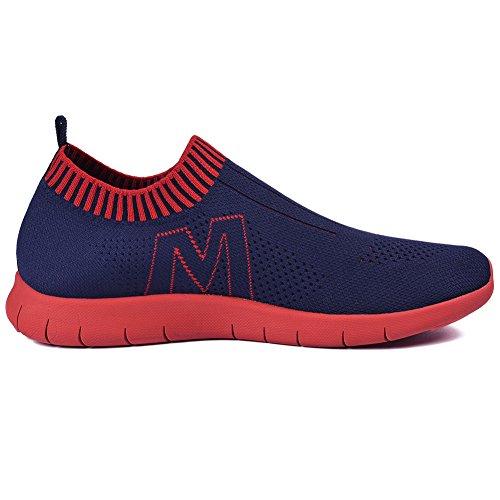 Qansi Heren Sneakers Mush Ultra Lichtgewicht Atletisch Tennis Met Ademende Waterschoenen Klompen Sandalen Marine / Rood