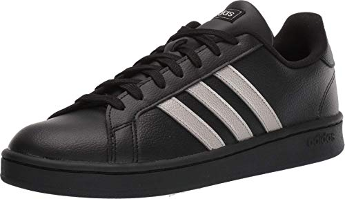 adidas Women's Grand Court Sneaker, Platinum Metallic/Black, 8 M US