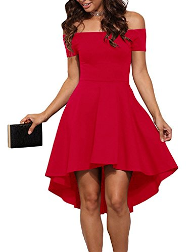 Aolakeke Women Casual Off Shoulder Formal Party Cocktail Dress With Short Sleeves, Small, Red