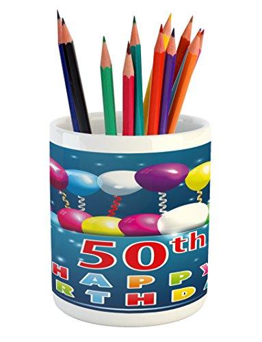 Ambesonne 50th Birthday Pencil Pen Holder, Joyful Mood Occas