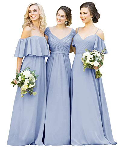 Yilisclothing Women's Strapless Ruffles Chiffon Long Bridesmaid Dress A-line Formal Prom Party Dress Dusty Blue-A US14 ()