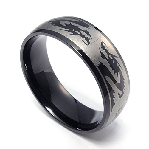 TEMEGO Jewelry Mens Stainless Steel Ring, Vintage Gothic Dragon Band,Black