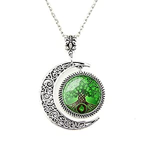 Moon pendant Celtic Tree of Life necklace Wishing Tree jewelry Tree necklace Art Deco jewelry Gifts