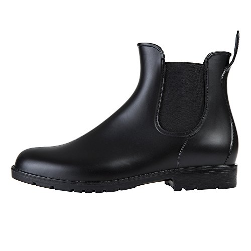 Image of Asgard Women's Short Rain Boots Waterproof Black Elastic Slip On Ankel Booties B38