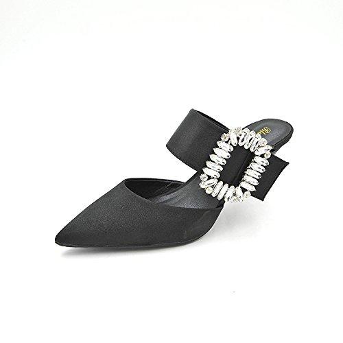 seta foratura acqua 37 alti alto ha primavera gentildonna tacco e tacchi scarpe i sottolineato punta ed versatile nero di Calzature raso con di calzature donna donna scarpe estate singola di HawACx8qA