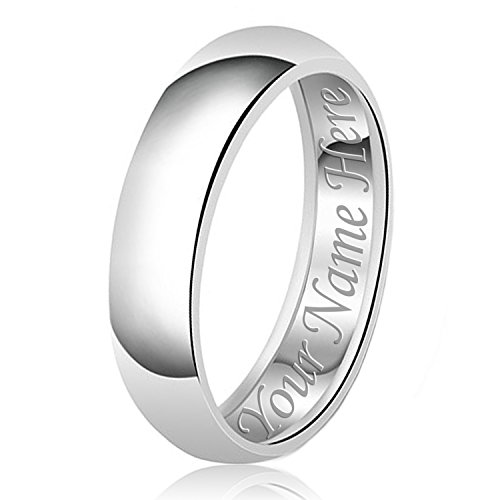 7mm Plain Band Ring (7mm Personalized Name Engraving Classic Sterling Silver Plain Wedding Band Ring, Size 7)