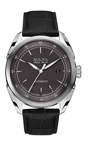 Accu Swiss  Mens Accu Swiss Black Leather Strap Watch - Bulova 63B188