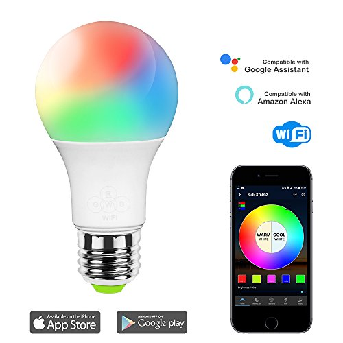 Magic Hue WiFi Smart LED Light Bulb, Multicolored Dimmable Sunrise Wake up Lights, No Hub Required, Compatible with Alexa & Google Assistant