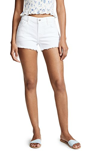 7 For All Mankind Women's Cutoff Shorts, Clean White, 28 ()