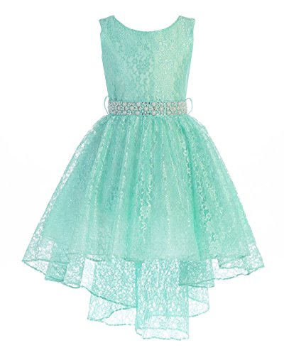 High Low Lace Dress Rhinestones Belt Pageant Flower Girl Dress Mint Size -