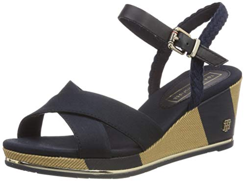 Mid midnight Azul Mujer Hilfiger 403 Tommy Para Sandal Printed Wedge Sandalias Con Plataforma fExwaqnP