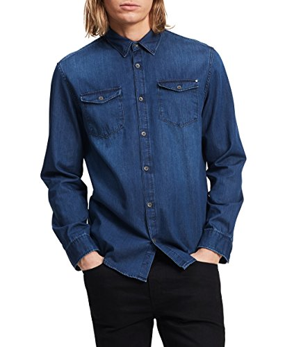 Calvin Klein Blue Denim (Calvin Klein Men's Long Sleeve Basic Denim Shirt, Worn Indigo, Large)