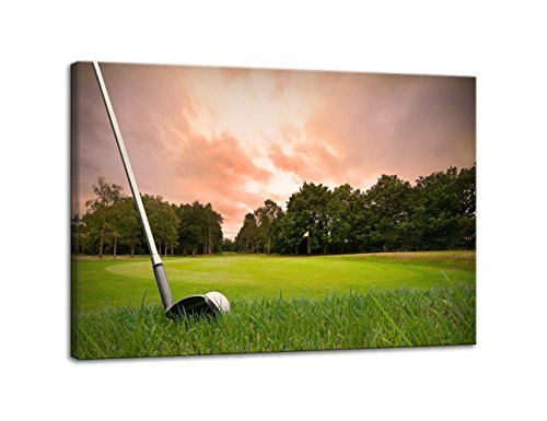 AMEMNY Wall Decor for Living Rooms Golf Club Painting Sunset Landscape Painting Canvas Art Home Decor Wall Artwork HD Prints For Home with Framed Stretched Ready To Hang(36''Wx24''H)