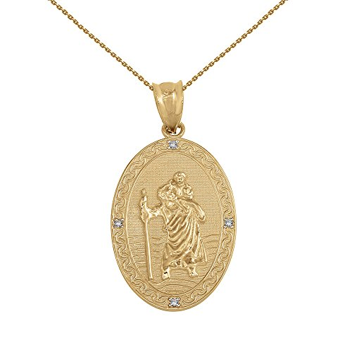 Solid 14k Yellow Gold Saint Christopher Diamond Oval Medal Charm Necklace (1